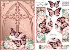 Fancy Cross Butterfly & Pastel Bouquet Pyramid & Decoupage
