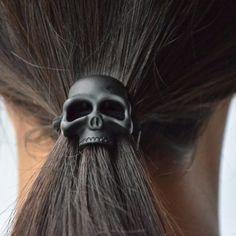 Black Skull Hair Tie