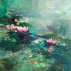 Magdalena Morey Illumination, blue and purple abstract landscape painting