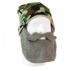 Duck Dynasty Beardhead Camo Hat with Crochet Beard - Grey