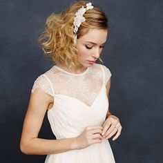 Hair HAIR HAIR: Short messy bob: beautiful j crew weddings Jennifer Behr forget-me-not comb