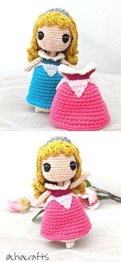 Lovely Crochet Doll Amigurumi Ideas. We all remember Aurora's changing colors dress, right? It was so magical, it went from blue to pink and from pink to blue, because the fairies could't decide which was better! This adorable doll has both dresses in the pattern, so you can fell the magic in your home!  #freecrochetpattern #amigurumi #doll