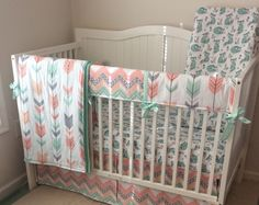 Adorable nursery bedding in peach mint and gray foxes and arrows  A personal favorite from my Etsy shop https://www.etsy.com/listing/260260872/peach-gray-and-mint-fox-and-owl-crib