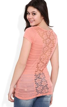 Deb Shops Short Sleeve Drape Front Top with Shadow Stripe and Partial Lace Back $11.92
