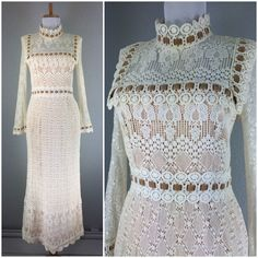 Vintage 1960s Beige White Crochet Victorian Maxi Gown Dress S | eBay