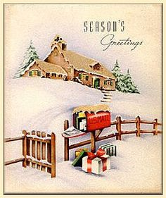 Vintage Christmas Card Seasons Greetings