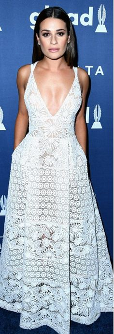 Who made Lea Michele's white lace gown, shoes, and jewelry?