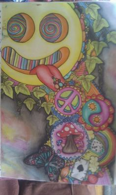 Ink- tense pencils, pencil, art, drawing, painting, psychedelic, art, trippy, trip, smiley, face, mushrooms, ying - yang, butterfly Artist- SaoirseRoseButler