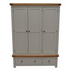 Meriden 3 Door Painted Oak Wardrobe With 2 Storage Drawers