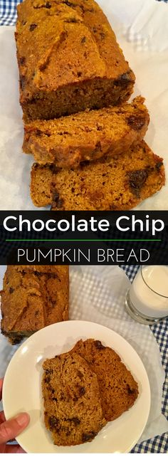 'Tis the season for everything pumpkin! This pumpkin bread is the perfect amount of sweet with dark chocolate chips. Serve it for breakfast or a sweet treat! | Clearly Organic Nutritionist Corner #organic #baking #pumpkinbread