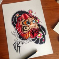 Daruma #tattoo #newschool #olliekeabledesigns #neotraditional