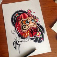 Daruma #tattoo #newschool #olliekeabledesigns #neotraditional