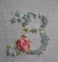 Hand Embroidery Monogram Letter B