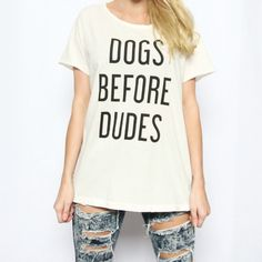 Dogs Before Dudes Distressed Rocker Tee | The Tree Kisser