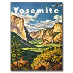 Yosemite National Park California America, vintage travel artwork, stunning vintage art from Zazilicious