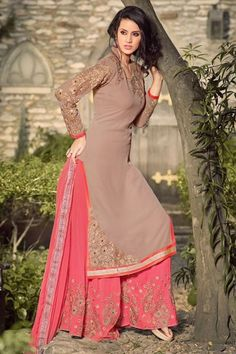 c7e9801138a Beige and peach georgette palazzo suit Floral embroidered top and palazzo  Comes with a matching bottom and chiffon dupatta Can be stitched upto size  42 ...