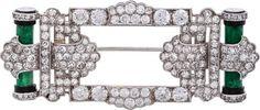 Beautiful Art Deco Diamond, Jadeite Jade, Onyx, Platinum Brooch, Cartier
