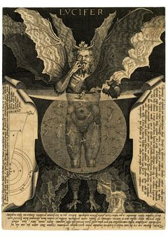 """The Devil at centre, with three faces and three pairs of wings, standing in a pool and devouring a damned soul, against dark background. Titled in top centre: """"LVCIFER"""". Lettered extensively around image with excerpts of Dante's Divina Comedia. Engraving made by Cornelis Galle I, After Lodovico Cigoli, Belgium, 1591-1650. ► The name Lucifer originally denotes the planet Venus, emphasizing its brilliance. The Vulgate employs the word also for """"the light of the morning"""" (Job 11:17), """"the…"""