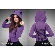 Violet Cat hoodie Ears Corset Animal Kawaii Kitty ($69) ❤ liked on Polyvore