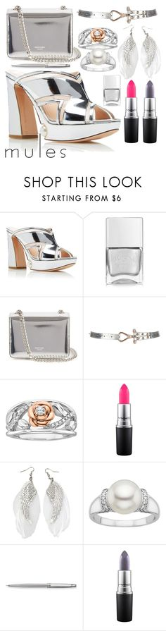 """""""Silver Starshine, mules & accessories"""" by caroline-buster-brown ❤ liked on Polyvore featuring Nicholas Kirkwood, Nails Inc., Rochas, Disney, MAC Cosmetics, Caran D'Ache and mules"""