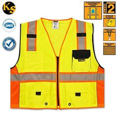 Prom-note High Visibility Vest,High Visibility Waistcoat Outdoor night running riding with sport arrow guide for safety and emergencies
