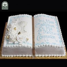Min of meer soCommunion 3351 - Oak Mill Bakery - European Style Baked Goods Boys First Communion Cakes, Boy Communion Cake, Baptism Sheet Cake, Comunion Cakes, Dedication Cake, Baptism Party Decorations, Bible Cake, Religious Cakes