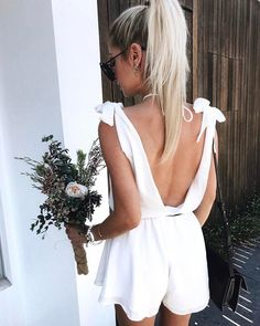 $50 Cute Bright Summer White Open Back Backless Tie Up Romper One Piece Playsuit Tumblr