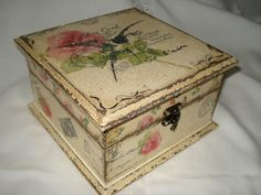 Hand made box decorated in decoupage style.