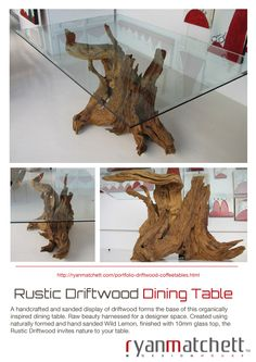 Cape Town based Industrial Designer Ryan Matchett, specializes in creating a variety of furnishings and décor accessories for lodges, hotels, restaurants and private homes both locally and internationally. Driftwood Dining Table, Industrial Design, Decorative Accessories, House Design, Rustic, Country Primitive, Industrial By Design, Retro, Farmhouse Style