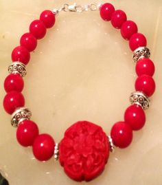 Carved Red Cinnabar and Red Coral handmade by BranstoneMagicMaster, $45.00