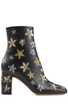Leather Ankle Boots with Embroidery - Valentino  $1,895.00