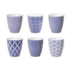 Tokyo Design Studio Nippon Blue Bekers 200 ml - hoogwaardig porselein - set van 6 - in. Design Studio, Tokyo Design, Blue Cups, Micro Onde, Mugs, Tableware, Modern, Prints, Tokyo 2020