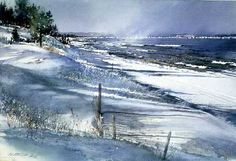 Edge of Winter Lake Superior by watercolor artist Nita Engle available from Snow Goose Gallery
