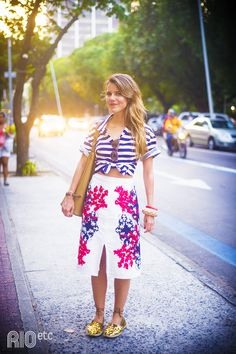 navy blue stripes mixed with florals