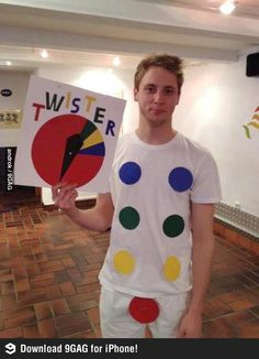 halloween hilarity - twister costume. I'm doing this for Halloween. Only the dots will be on my boobs :)