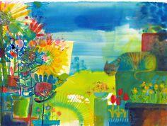 colorful - art - Jill Calder Mixed Media Artists, Illustration Art, Illustrations, Original Paintings, Alice, Waiting, Cats, Drawings, Grand Piano
