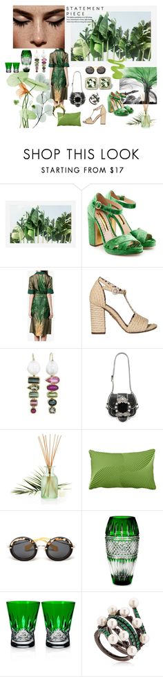 """""""Leaf green"""" by sarahhughes-net ❤ liked on Polyvore featuring Pottery Barn, Rupert Sanderson, F.R.S For Restless Sleepers, Charlotte Olympia, Miu Miu, Pier 1 Imports, Waterford, Colette Jewelry and William Cheshire"""