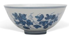 Blue and white 'Palace Bowl' with design of melon vines, mark and period of Chenghua © The Trustees of the British Museum