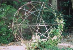 Trellis orb - great site for space frames too. I have wild grapes that grow below my garden.  I am going to give that a whirl.