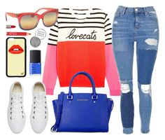 """""""Mixed Colors"""" by smartbuyglasses ❤ liked on Polyvore featuring Chinti and Parker, Topshop, Michael Kors, Converse, NARS Cosmetics, Obsessive Compulsive Cosmetics, Urban Decay, red and Blue"""