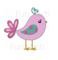 Sweet bird machine embroidery design instant download by FunStitch