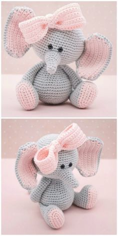 Crochet Elephants - Lots Of Fabulous FREE PATTERNS : Crochet Elephant Amigurumi Easy Video Instructions You will love this selection of the cutest Elephants and we have a heap of FREE Patterns for you to try. Crochet Animal Amigurumi, Crochet Amigurumi Free Patterns, Crochet Animal Patterns, Stuffed Animal Patterns, Crochet Animals, Crochet Dolls, Crochet Elephant Pattern Free, Amigurumi Tutorial, Amigurumi Doll