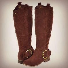 #brown #riding #boots #buckle #knee #high #fashion #suede #western #distressed