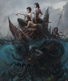 "Some My art works for Challenge ""Beneath the Waves… – – Art Drawing Dark Fantasy Art, Fantasy Kunst, Dark Creatures, Fantasy Creatures, Various Artists, Great Artists, Science Fiction, Supernatural, Indie"
