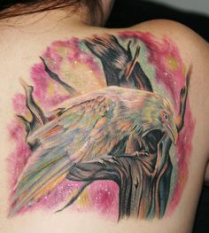 fuckyeahtattoos:  White Raven done by Cecil Porter in Murrieta, CA