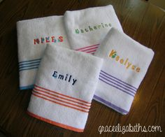 Embroideried wash cloths!  Great graduation gift idea or just getting ready to send off a student to college. www.graceelizabeths.com  #GEinc