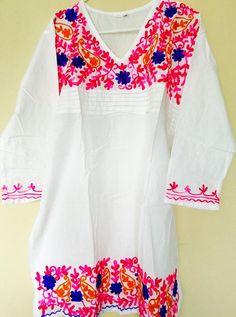 Women 100 Cotton Kurti Kurta Tunic Dress Top Hand Embroidered White Size XL | eBay