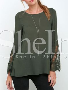 Army Green Long Sleeve With Lace Blouse 11.99