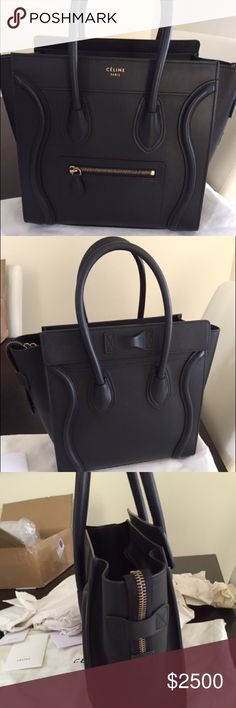 Celine micro black smooth Price reduced!!!! For sale is this gorgeous Celine black smooth with ghw. Purchased from a seller on IG; comes with dustbag and Celine cards. Please email for more photos for serious inquiries only!! Price negotiable if outside posh! No trades just trying to sell, thank you!! Open to trades but only for a black Celine nano! Celine Bags Totes