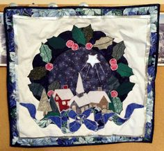 Christmas Village  Appliqued & Quilted Wall by PincushionsAndPaper